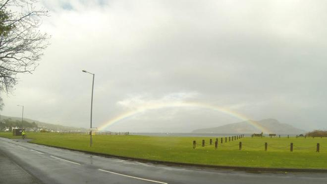rainbow over the Holy Isle