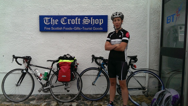 At Broadford on Skye awaiting the cleg-bitten Alistair