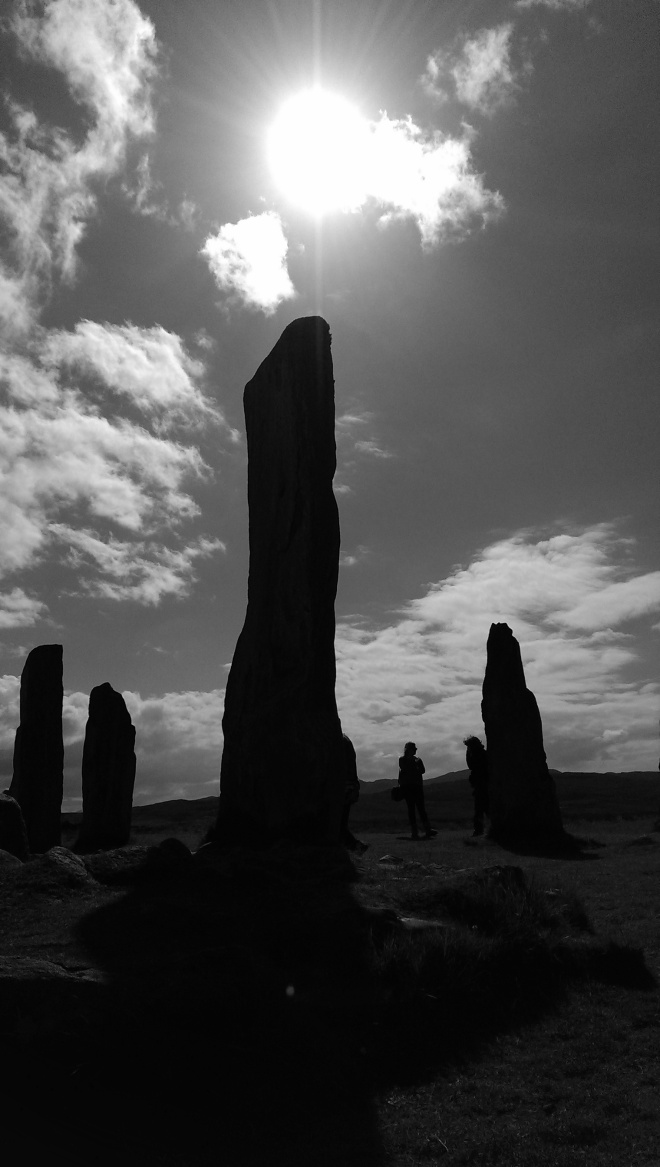 arty farty shot of a standing stone at Calanais for variety